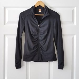 Lucy LucyPower Black Ruched Athletic Zip Jacket XS